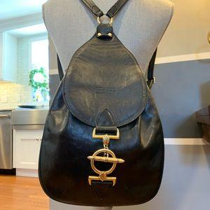 Texier  Black Leather Backpack  Gold Hardware